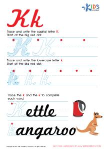 Cursive Letters Worksheets | Letter K Tracing PDF
