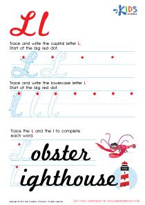 Cursive Letters Worksheets | Letter L Tracing PDF