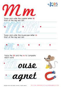 Cursive Letters Worksheets | Letter M Tracing PDF