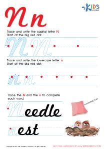 Cursive Letters Worksheets | Letter N Tracing PDF