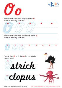 Cursive Letters Worksheets | Letter O Tracing PDF