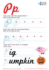 Cursive Letters Worksheets | Letter P Tracing PDF