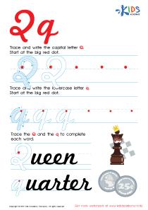 Cursive Letters Worksheets | Letter Q Tracing PDF