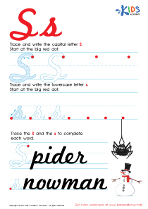 Cursive Letters Worksheets | Letter S Tracing PDF