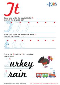 Cursive Letters Worksheets | Letter T Tracing PDF