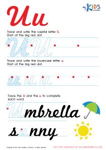 Cursive Letters Worksheets | Letter U Tracing PDF