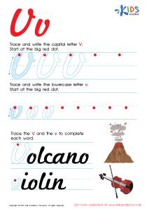 Cursive Letters Worksheets | Letter V Tracing PDF