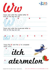 Cursive Letters Worksheets | Letter W Tracing PDF