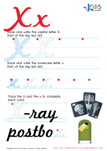 Cursive Letters Worksheets | Letter X Tracing PDF