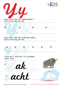 Cursive Letters Worksheets | Letter Y Tracing PDF