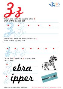 Cursive Letters Worksheets | Letter Z Tracing PDF