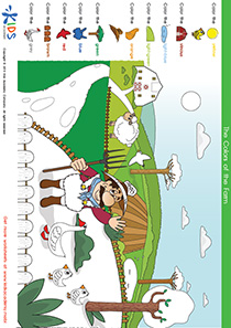 Coloring Pages: Color the Farmer and His Geese