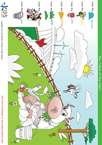 Coloring Pages: Color the Cow and the Fields