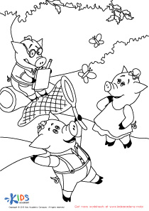 The Three Little Pigs Coloring PDF Worksheet