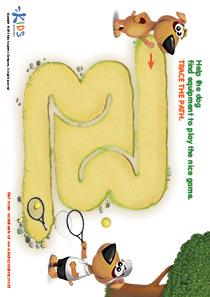 Printable PDF Mazes For Kids: Tennis Player