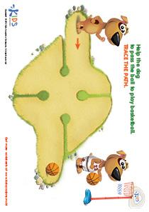 Printable PDF Mazes For Kids: Basketball Player