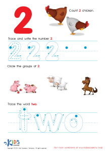 Learning Numbers Worksheets: Learn to Write the Number 2 PDF