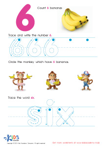 Learning Numbers Worksheets: Tracing And Writing Number 6 PDF