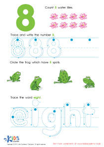 Learning Numbers Worksheets: Learn Number 8 Easily