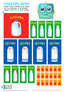 Math Measurement PDF Worksheets: Cups, Pints and Quarts With Gallon Man