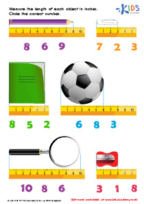 Math PDF Worksheets: Learning measuring objects in inches