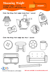 Measurement PDF Worksheets: Measuring Weight in Pounds 1