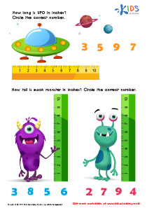 Math PDF Worksheets: Measuring in Inches