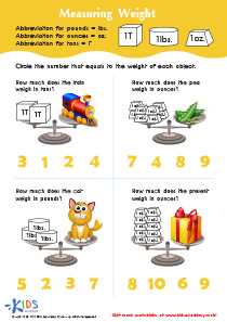 Math PDF Worksheets: Measuring Weight in Ounces, Pound and Tons