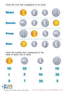 Printable Money Games and PDF Worksheets: Coin Names and Values