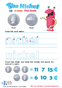Printable Money Games and PDF Worksheets: Five Cents or the Nickel
