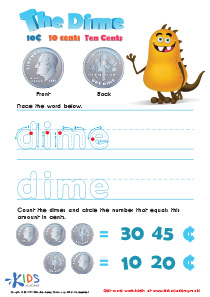 Printable Money Games and PDF Worksheets: Ten Cents or the Dime
