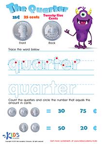 Printable Money Games and PDF Worksheets: Twenty Five Cents or the Quarter