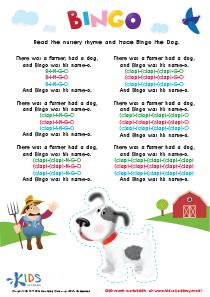 Nursery Rhymes: The Bingo Song PDF Worksheet