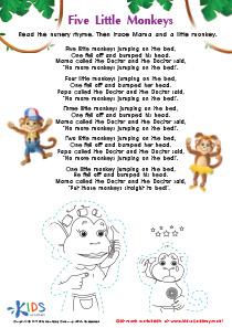The Five Little Monkeys Nursery Rhyme Worksheet
