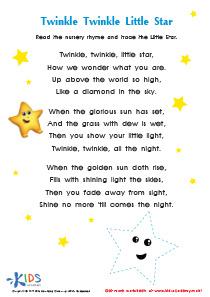 Nursery Rhymes: Twinkle Little Star PDF Worksheet
