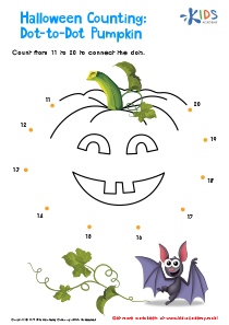 Halloween Counting Worksheet from 11 to 20