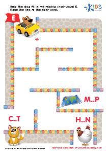 Phonics for Kids | Short Vowel Sound E | PDF Worksheet 1