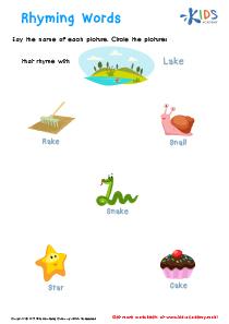 Rhyming Words Worksheet PDF