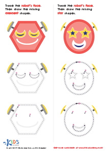 Geometric Shapes for Kids: Composing a Robot's Face of Crescents And Stars PDF