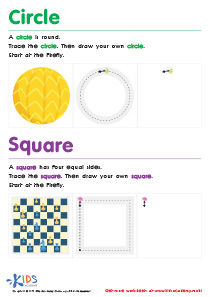 Geometric Shapes for Kids: Trace And Draw a Circle And a Square PDF