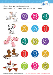 Math PDF Worksheets - Count and Match: 1 – 5