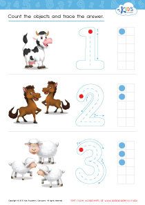 Math PDF Worksheets - Count and Trace: 1 – 3