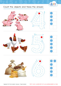 Math PDF Worksheets - Count and Trace: 4 – 6