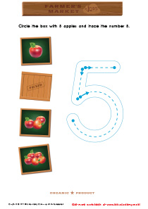 Math Game: Count the Apples and Trace the Number 5