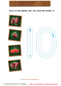 Math Game: Count the Cherries and Trace the Number 10