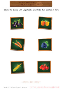 Math PDF Worksheets - Count and Match Boxes with Vegetables