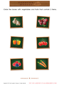 Math PDF Worksheets - Count and Match Vegetables and Points