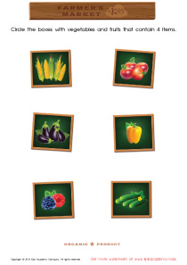 Math PDF Worksheets - Count and Match Vegetables: 2 – 8