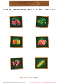 Math PDF Worksheets - Count and Match Vegetables: 1 – 7