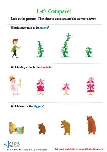 Size Worksheets for Preschoolers